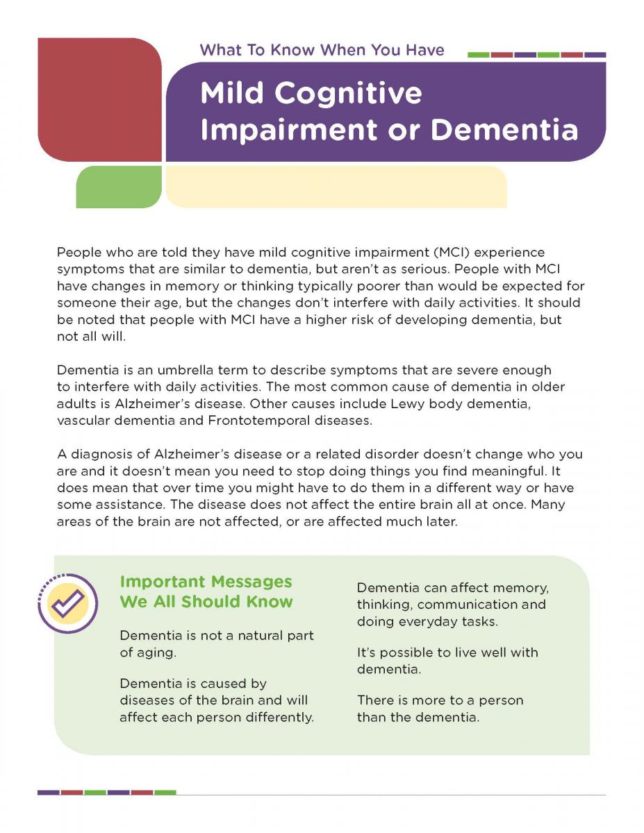 What To Know When You Have Mild Cognitive Impairment or Dementia