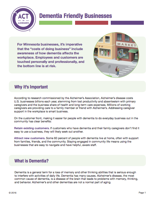 ACTs Dementia Friendly Businesses Tips And Best Practices Handout Provides An Overview Of Alzheimers 10 Warning Signs For Interacting